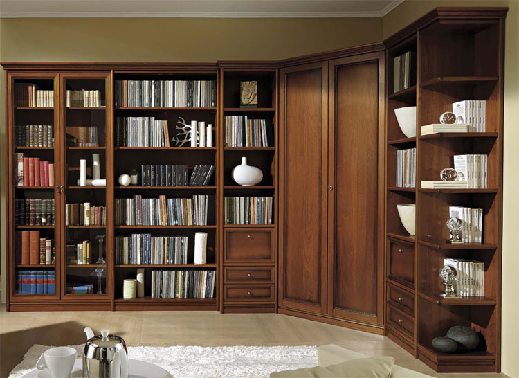 luxus bibliothek modular wohnwand design stilm bel italien hochglanz furnier ebay. Black Bedroom Furniture Sets. Home Design Ideas