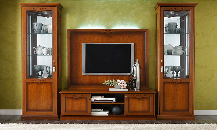 exklusive tv kombina tion vitrine 1tr tv schrank italienische stilm bel furnier ebay. Black Bedroom Furniture Sets. Home Design Ideas
