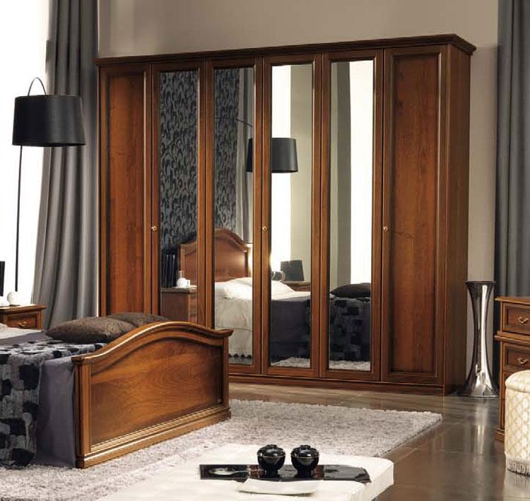 luxus kleiderschrank nostalgia 6tr spiegel nussbaum. Black Bedroom Furniture Sets. Home Design Ideas