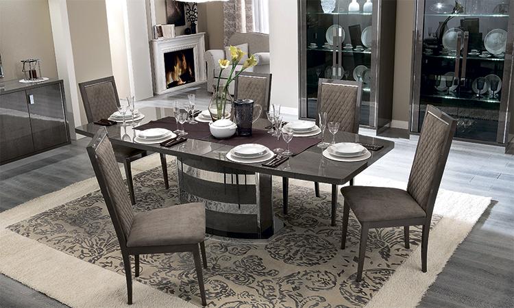exklusiver esstisch ausziehbar in rauchgrau hochglanz modern italienische m bel ebay. Black Bedroom Furniture Sets. Home Design Ideas