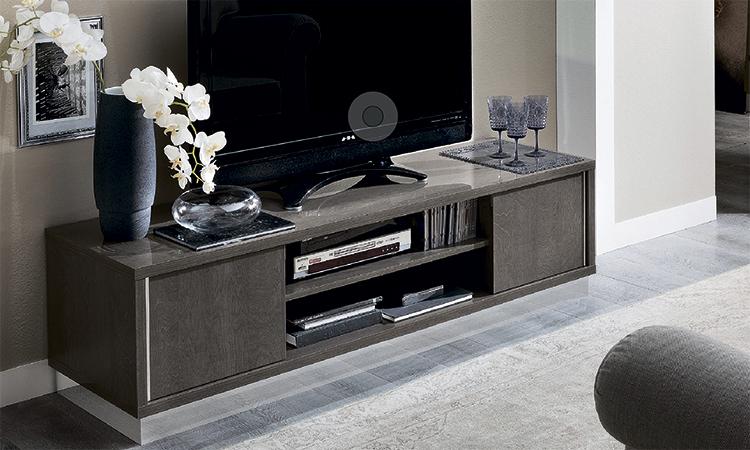 exklusiver tv unterschrank in rauchgrau hochglanz modern italienische m bel ebay. Black Bedroom Furniture Sets. Home Design Ideas