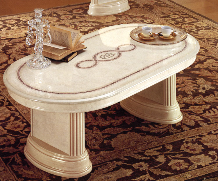 Couchtisch oval beige hochglanz klassische stilm bel aus for Klassische mobel aus italien