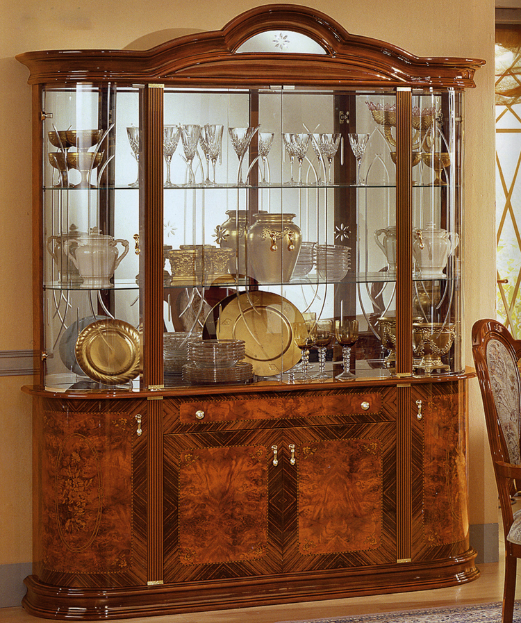 vitrine glasvitrine 4 t rig hochglanz nussbaum farbe italienische stilm bel ebay. Black Bedroom Furniture Sets. Home Design Ideas