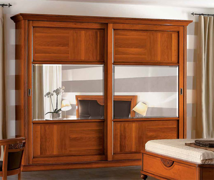 luxus kleiderschrank schiebet re spiegel furnier italienische klassische m bel ebay. Black Bedroom Furniture Sets. Home Design Ideas