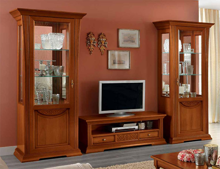 luxus vitrine 1 tr massiv nussbaum furnier klassische. Black Bedroom Furniture Sets. Home Design Ideas