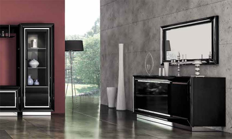 luxus wohnwand la star day in schwarz hochglanz polyester lack aus italien ebay. Black Bedroom Furniture Sets. Home Design Ideas