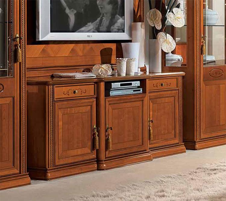 Exlusives wohnzimmer wohnwand kirschbaum furnier klassische stilm bel italien - Klassische wohnwand ...