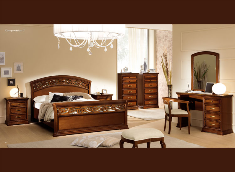 luxus komplett schlafzimmer torriani nussbaum furnier klassik aus italien. Black Bedroom Furniture Sets. Home Design Ideas