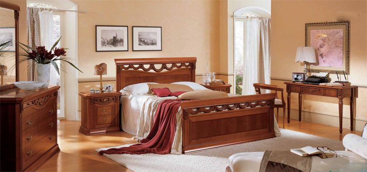 doppelbett toscana 180x200 kirschbaum furnier klassische. Black Bedroom Furniture Sets. Home Design Ideas