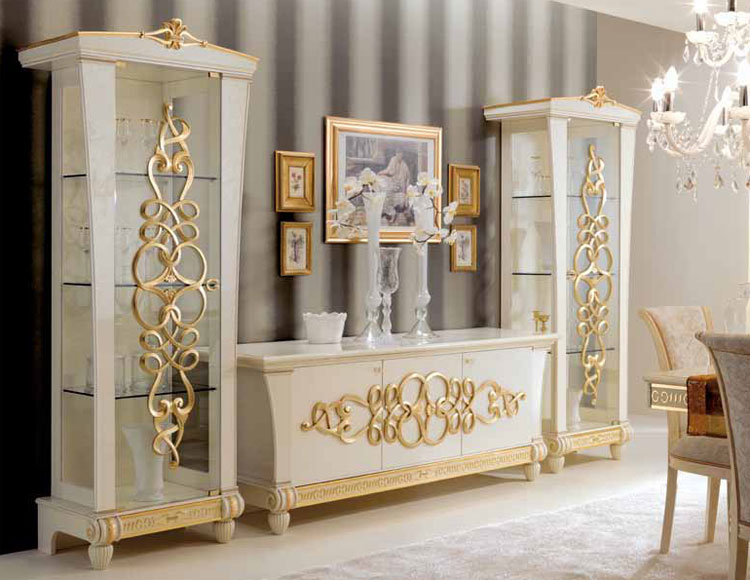 wohnwand wohnzimmer set stilm bel italia hochglanz glamour gold royal lack ebay. Black Bedroom Furniture Sets. Home Design Ideas