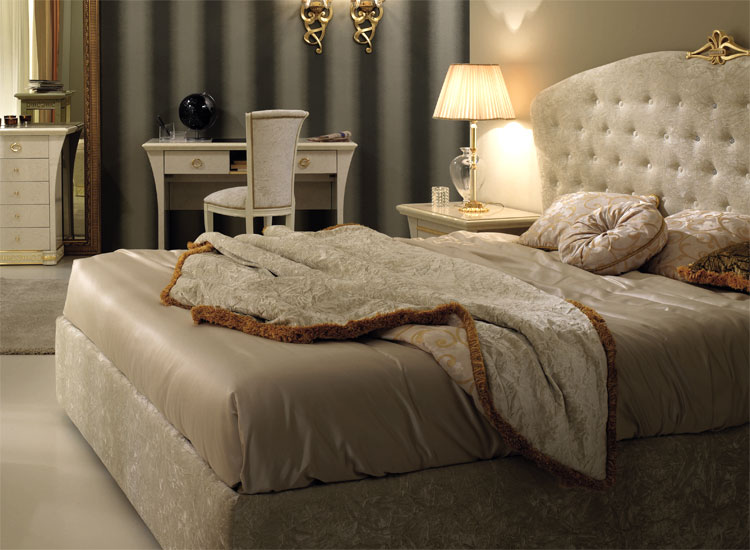 luxus bett doppelbett gepolstert 160x200 bettkasten stilm bel italia beige gold ebay. Black Bedroom Furniture Sets. Home Design Ideas