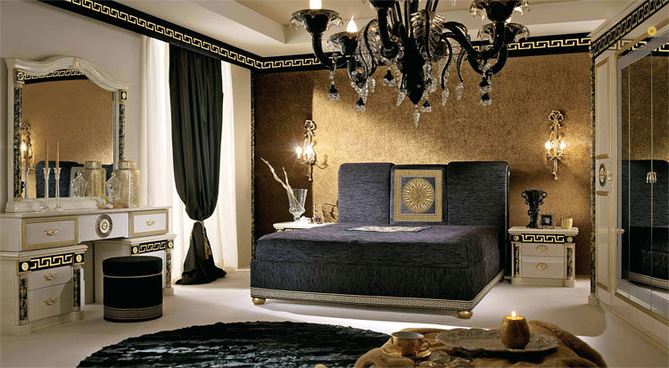 luxus bettgruppe schlafzimmer bett medusa muster gold dekor stilm bel italien ebay. Black Bedroom Furniture Sets. Home Design Ideas