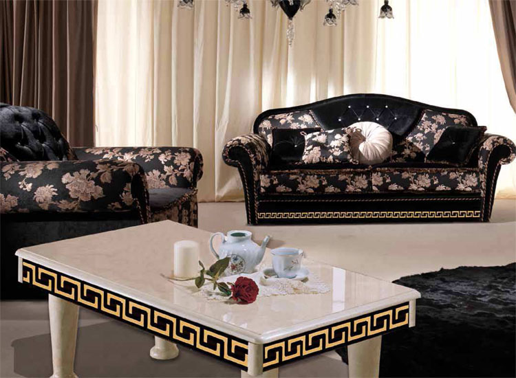 luxus sofa 3 sitzer couch griechische muster deco klassische italienische m bel ebay. Black Bedroom Furniture Sets. Home Design Ideas
