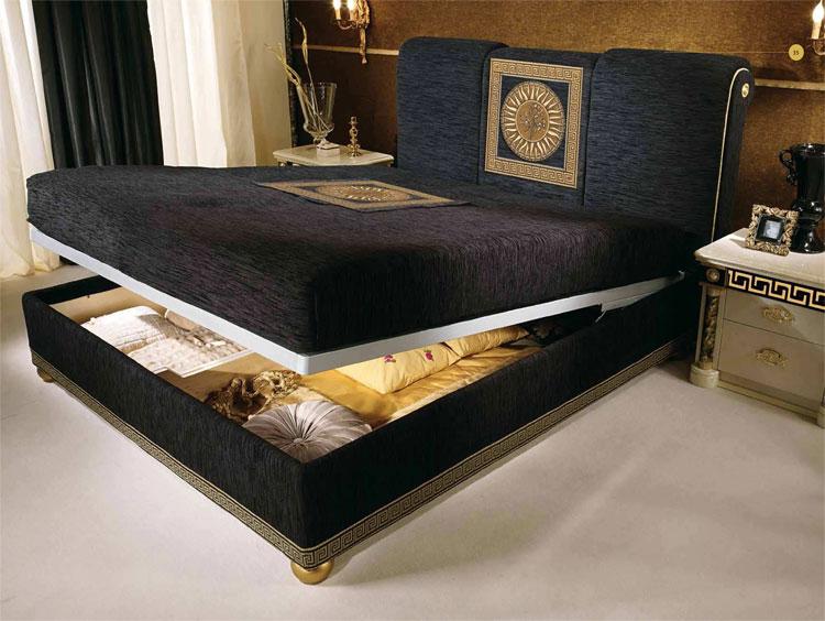 luxus schlafzimmer bettgruppe bett versace muster gold. Black Bedroom Furniture Sets. Home Design Ideas