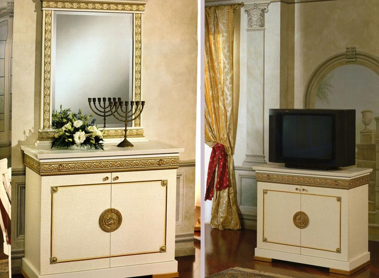 design luxus wohnzimmer wohnwand vitrine italia hochglanz lack beige gold deko. Black Bedroom Furniture Sets. Home Design Ideas