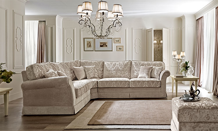 elegantes ecksofa couch polster stoff zeitlose klassische stil m bel aus italien ebay. Black Bedroom Furniture Sets. Home Design Ideas