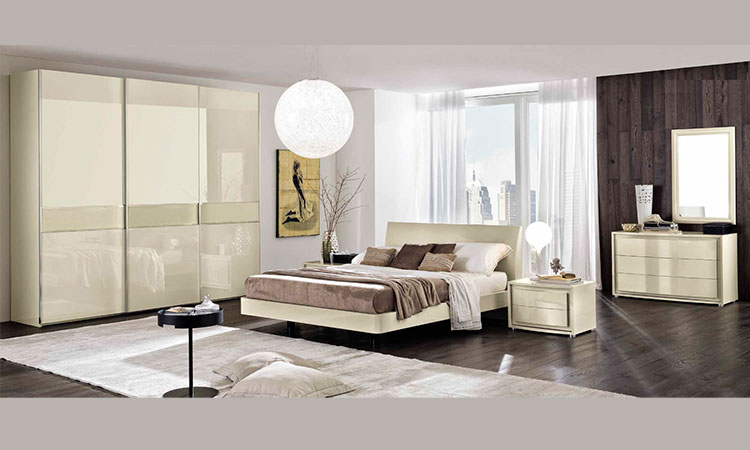 luxus schlafzimmer modern elegant elfenbein hochglanz designmoebel aus italien ebay. Black Bedroom Furniture Sets. Home Design Ideas