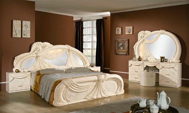 Komplett schlafzimmer set klassische italienische stilm bel creme hochglanz top ebay - Stilmobel italien ...