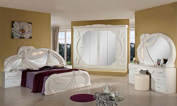 luxus kleiderschrank mit spiegel klassische stilm bel wei italien hochglanz ebay. Black Bedroom Furniture Sets. Home Design Ideas