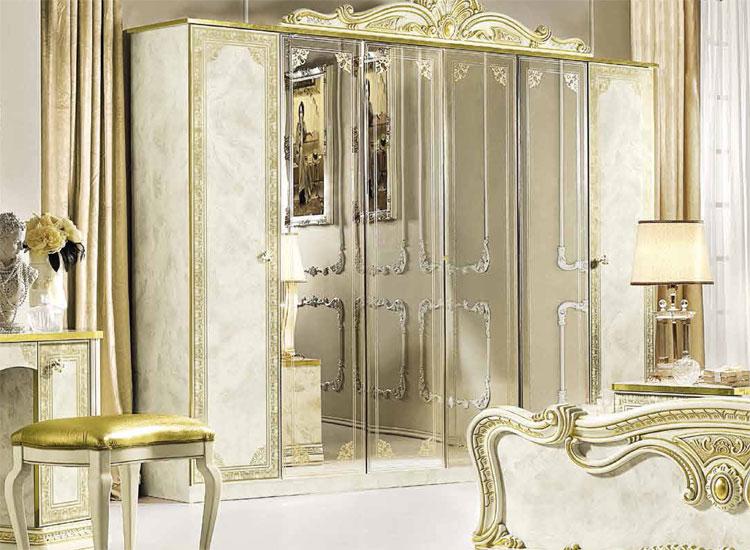 Luxus Schrank 6 Turig Leonardo Beige Gold Stilmobel Aus Italien