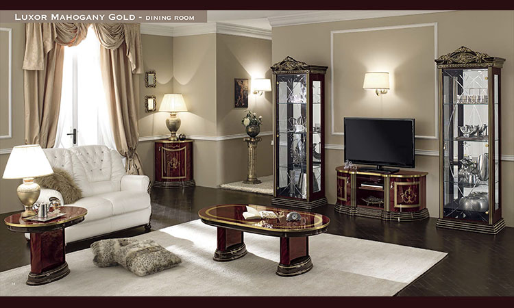 luxus glas vitrine 2tr mahagony gold hochglanz stil moebel aus italien ebay. Black Bedroom Furniture Sets. Home Design Ideas