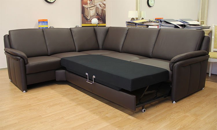 luxus ecksofa dallas braun rundecke echt ledergarnitur mit schlaffunktion ebay. Black Bedroom Furniture Sets. Home Design Ideas