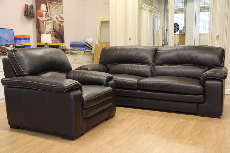 luxus sofa couch 3 sitzer sessel echt ledergarnitur. Black Bedroom Furniture Sets. Home Design Ideas