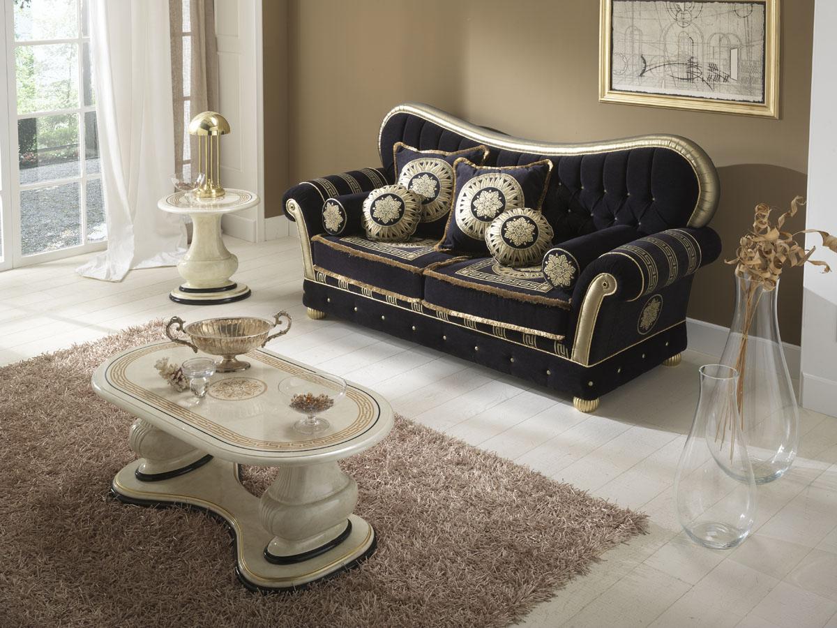 Couchtisch Hochglanz lackiert Gold Dekor Luxus Stilmöbel