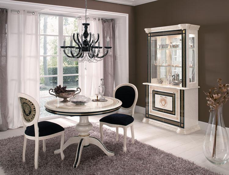 esstisch oval medusa und meander dekor luxus stilm bel italien design beige ebay. Black Bedroom Furniture Sets. Home Design Ideas