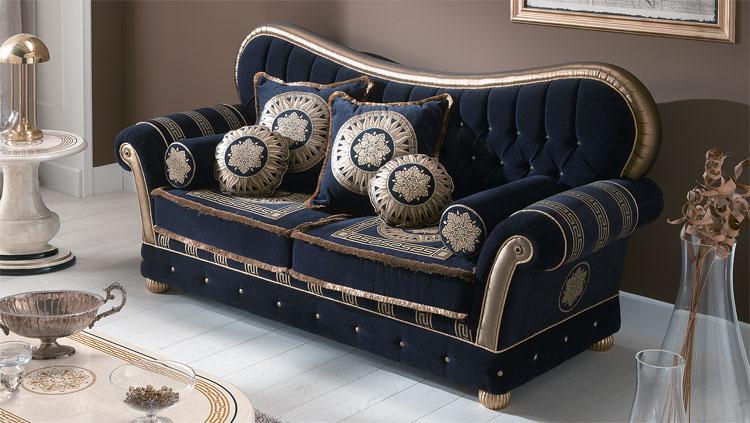luxus polster garnitur sofa couch medusa griechische muster gold dekor italien ebay. Black Bedroom Furniture Sets. Home Design Ideas