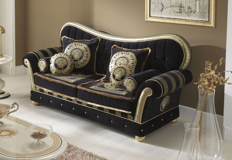 luxus polster garnitur sofa 3 sitzer couch medusa quadro georgia dekor italien ebay. Black Bedroom Furniture Sets. Home Design Ideas