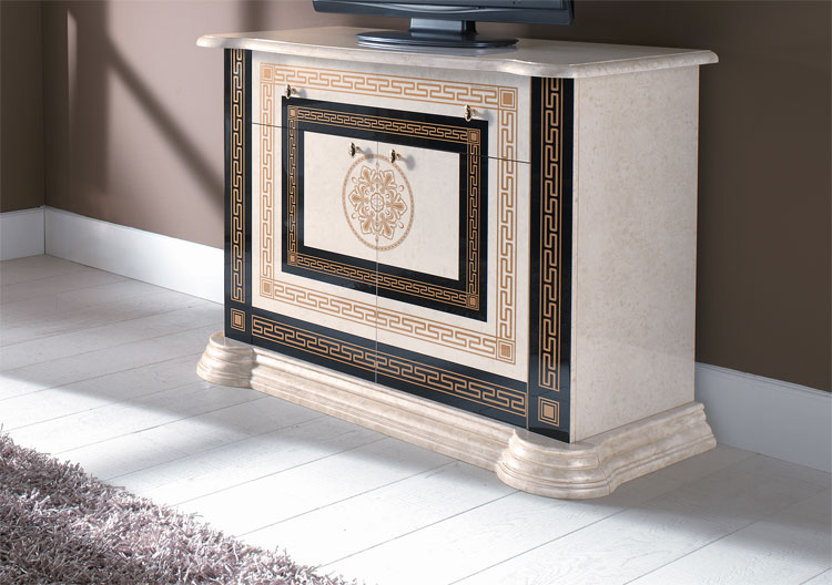 exklusiver tv unterschrank hochglanz dekor italien beige schwarz gold design top ebay. Black Bedroom Furniture Sets. Home Design Ideas