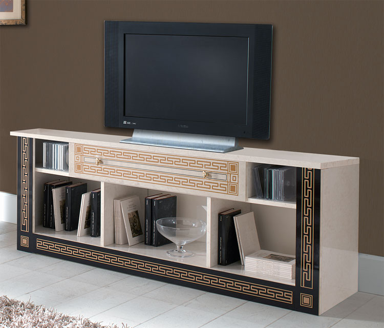 exklusiver tv lcd unterschrank medusa gold dekor italien. Black Bedroom Furniture Sets. Home Design Ideas