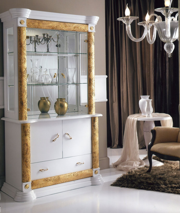 design wohnzimmer esszimmer vitrine italien wei gold hochglanz bijou ebay. Black Bedroom Furniture Sets. Home Design Ideas