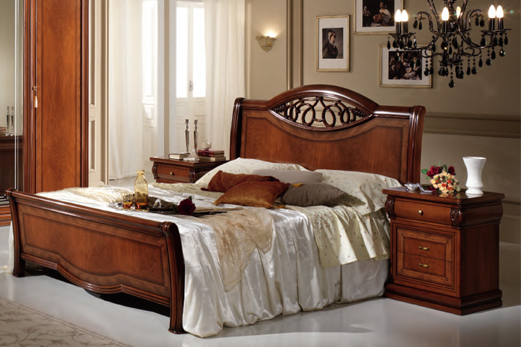 lit double alessia 160x200 noyer couleur classique style meubles italie ebay. Black Bedroom Furniture Sets. Home Design Ideas