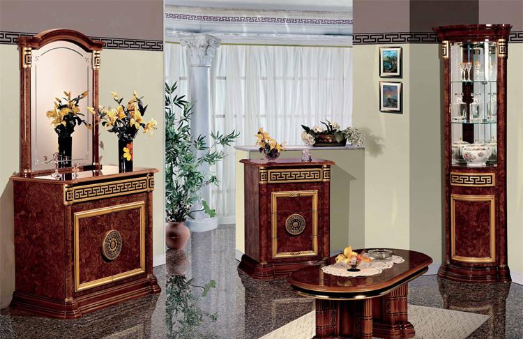 Luxus Couchtisch Oval Nussbaum Hochglanz Klassische