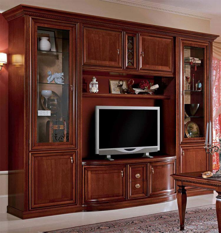 wohnwand tv marlene italien klassik stilm bel hochglanz. Black Bedroom Furniture Sets. Home Design Ideas