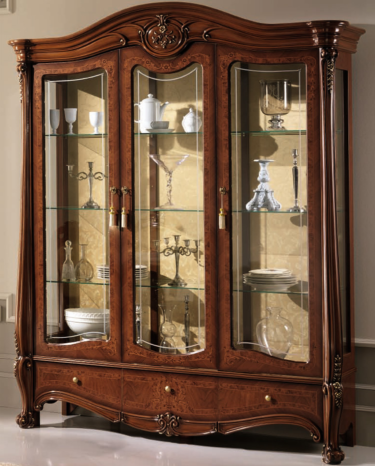luxus vitrine 3 t rig nussbaum mattglanz klassische stilm bel italien ebay. Black Bedroom Furniture Sets. Home Design Ideas