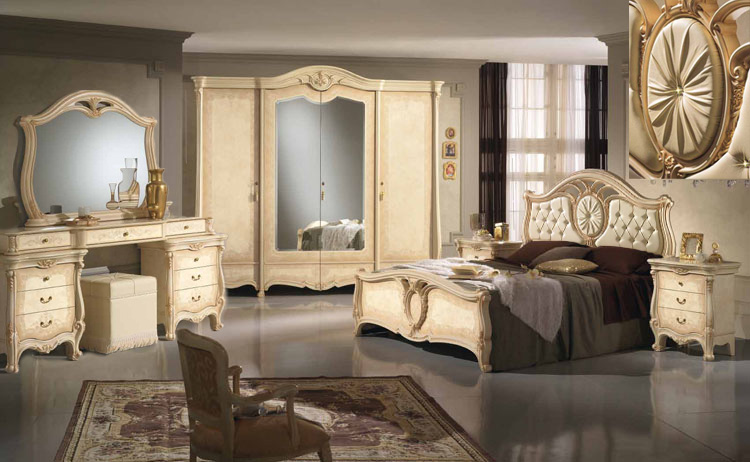 komplett schlafzimmer schrank bett kommode spiegel luxus stil klassik italien ebay. Black Bedroom Furniture Sets. Home Design Ideas