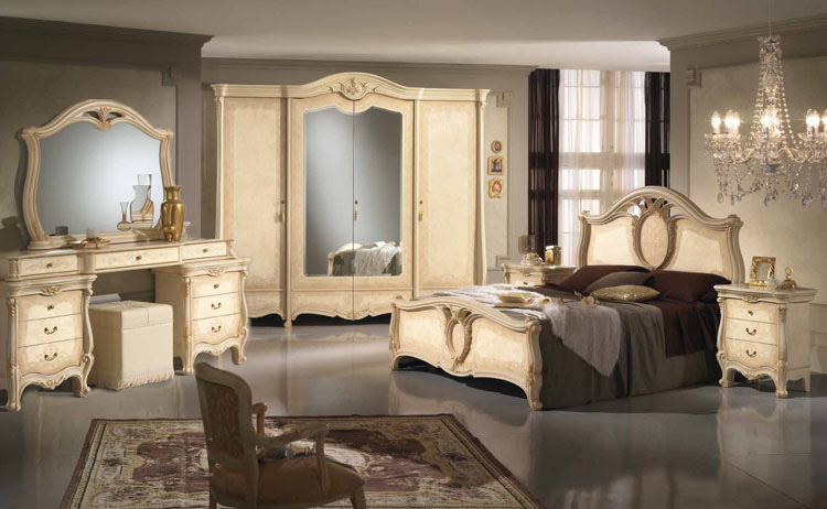 komplett schlafzimmer beige schrank bett kommode spiegel stilm bel italien ebay. Black Bedroom Furniture Sets. Home Design Ideas