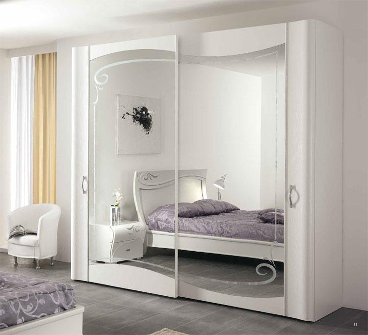 Schiebe Kleiderschrank Weiß : Details zu Luxus Kleiderschrank 2tr Massiv Weiß Kristalle Spiegeltür