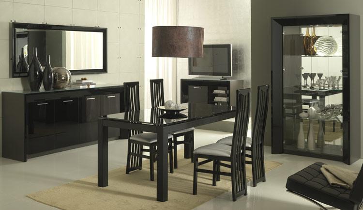 vitrine tisch anrichte spiegel stilm bel italien schwarz hochglanz lack modern ebay. Black Bedroom Furniture Sets. Home Design Ideas