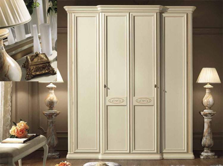 kleiderschrank siena avorio 5 tr 3 spiegelt ren linde stilm bel klassik italien ebay. Black Bedroom Furniture Sets. Home Design Ideas
