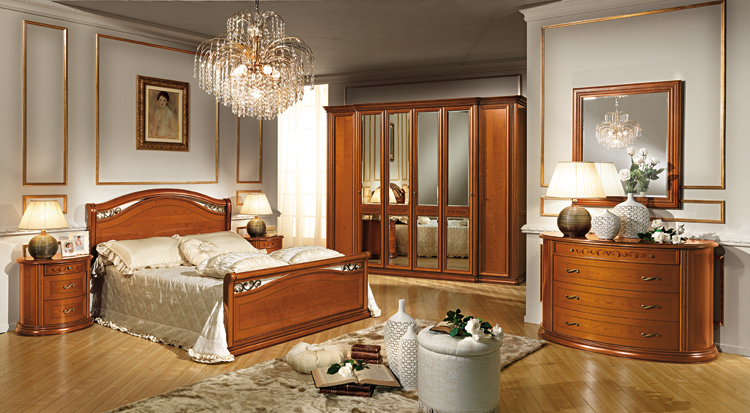komplett schlafzimmer stilm bel farbe kirschbaum italien luxus hochglanz schick ebay. Black Bedroom Furniture Sets. Home Design Ideas