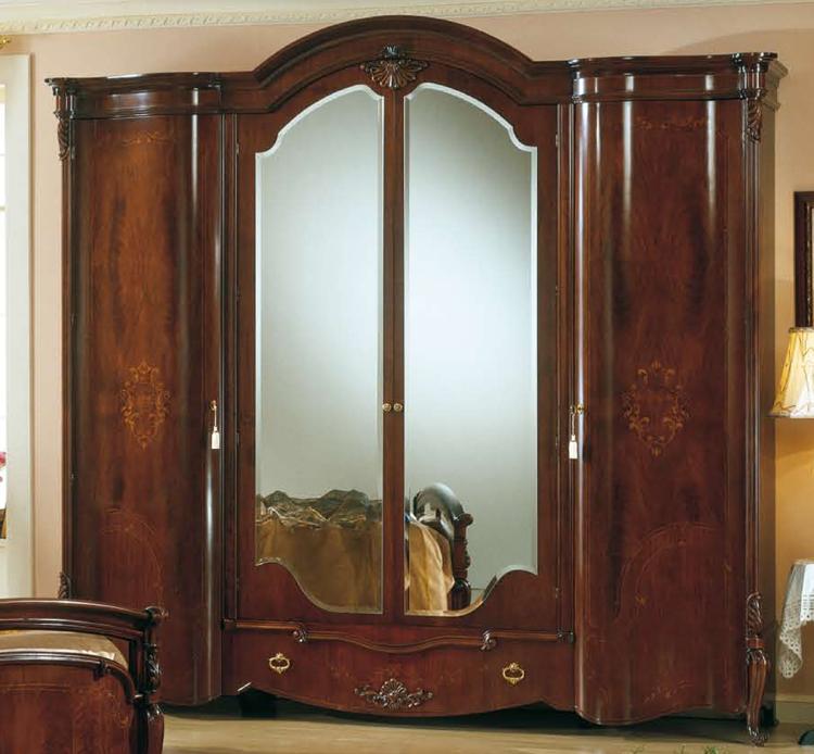 Komplett Schlafzimmer Nußbaum Lack Stilmöbel Italia Klassik Barock