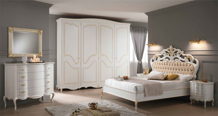 luxus komplett schlafzimmer massiv holz blattgold klassische stilmoebel italien ebay. Black Bedroom Furniture Sets. Home Design Ideas