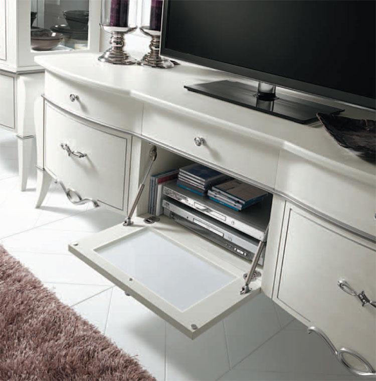 Luxus Lowboard Esche Weiß Holz Furnier Kristalle ...
