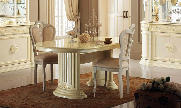 esstisch oval ausziehbar 200 50 f r 8 10 personen in beige hochglanz aus italien ebay. Black Bedroom Furniture Sets. Home Design Ideas