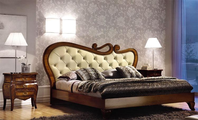 luxus doppelbett 180x200 echt leder kopfteil edelholz. Black Bedroom Furniture Sets. Home Design Ideas