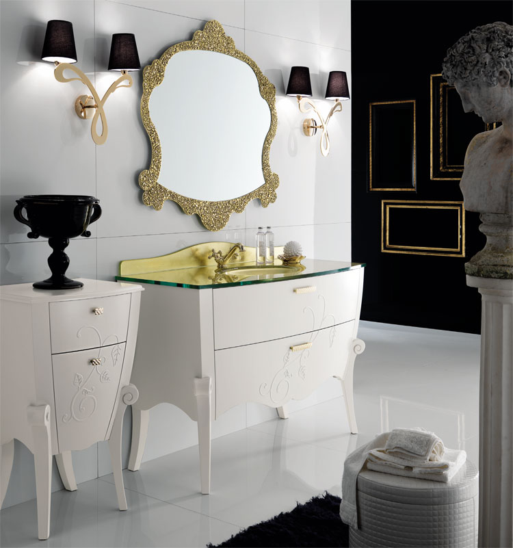 luxus badm bel set margot wei gold furnier klassische. Black Bedroom Furniture Sets. Home Design Ideas